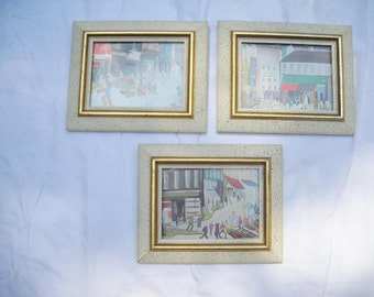 Set of Three Framed Mid-Century Prints by Fayetta