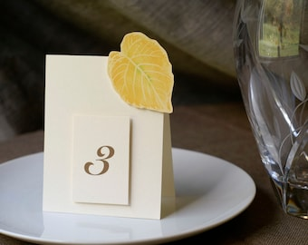 Yellow Fall Leaf Table Number Cards - Wedding, party, event table decoration.