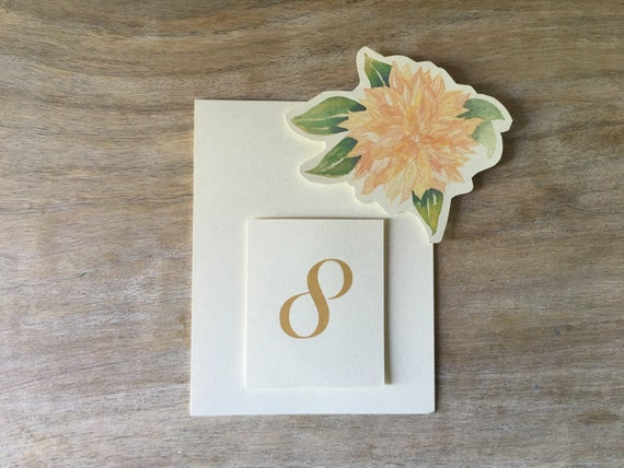 Soft Blush Dahlia Table Number Tent Cards - for Events, Weddings, Parties, Showers, Graduations.