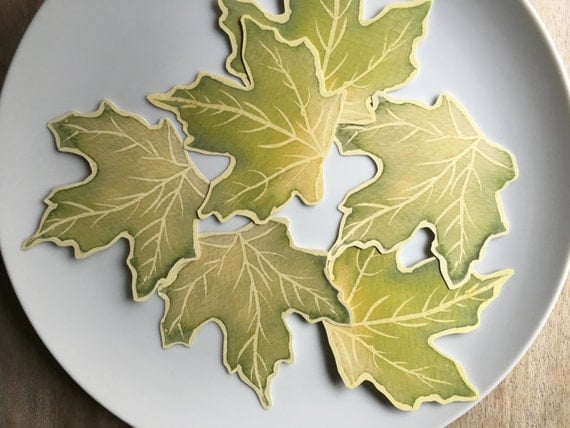 Green Maple Leaves Decorations - Place cards, escort cards, dinner parties, weddings, events