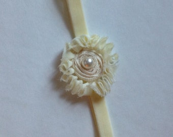 Off White Shabby Flower Headband, Toddler, Newborn Wedding, photo prop
