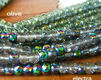 """7"""" / 15"""" 8mm MICRO Faceted - Electra / Olive Green - half coat AB Extra Sparkle crystal glass rondelle Beads - PICK Color"""