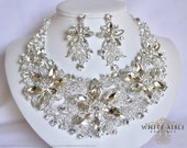 Crystal Flower Necklace Set, Bridal Statement Necklace, Wedding Jewelry, Vintage Inspired Necklace, Crystal Necklace