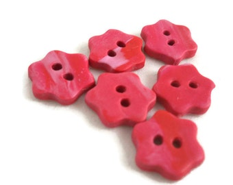Small pink flower buttons handmade clay