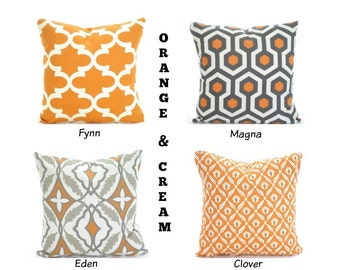 Orange Gray Pillow Covers, Decorative Throw Pillows, Cushion Covers, Orange Tan Grey Cream, Euro Sham - One or More Mix & Match ALL SIZES