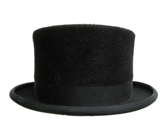 Vintage Christys of London Top Hat Mens Fur Felt Equestrian Show Formal Top Hat with Chin Strap Size 7 3/8 Large Made In England
