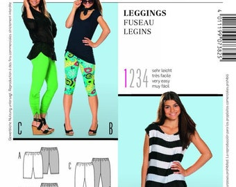 Misses' Leggings or Capri Shorts in 3 Lengths - Burda Young Pattern - Sz 6 thru 16 - Burda Style 7382