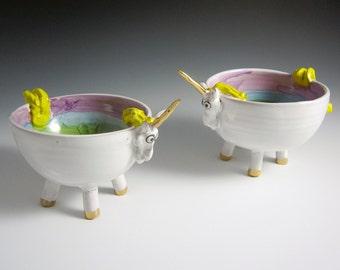 Ceramic Unicorn Bowl - Unicorn Pottery Bowl - Gold and White Unicorn - Majolica Bowl - Rainbow - Catch All bowl - Child's Nursery Bowl