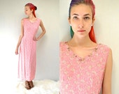 90s Rayon Dress  //  Pink Floral Dress //  THE TERRA