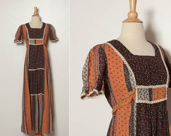 vintage 1970s autumn boho maxi dress
