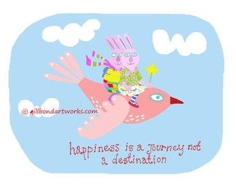 Happiness is a Journey. ART PRINT with excited flying rabbits