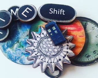 Dr.WHO, Brooch, timey whimey, planets, pocket watch, earth, TIME shift, TARDIS, silver tardis keyring, by NewellsJewels on etsy