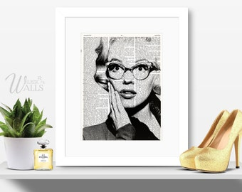 MARILYN MONROE ART - Vintage Dictionary Art Print, Marilyn Monroe Poster, Wall Art, Home Decor, Marilyn Monroe Photo, Marilyn Portrait