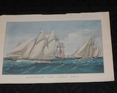 "Vintage 1970 Currier & Ives Calendar Print-""Rounding The Light Ship"""