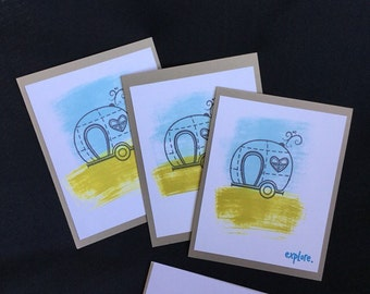 Set of three note cards