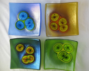 Staphylococcus aureus Bacteria Set of Four Fused Glass Bowls Made to Order