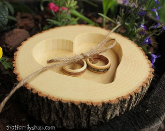 Natural Bark Log Ring Bearer Pillow/Dish, Woodland Wedding Decor