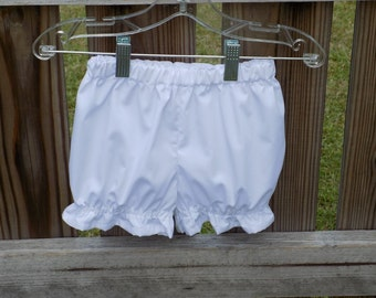 White cotton bloomers panties toddler bloomers made to match dresses