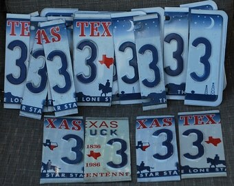 License Plate Numbers, Texas License Plate,Number 3, Cut License Plate Numbers, Numbers, Texas, Pre Cut License Plate, Signs, Clocks,