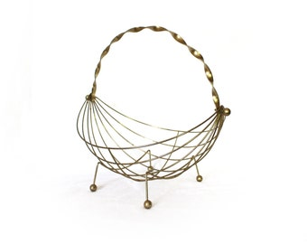 vintage basket 60's brass Eames style wire decorative home decor 1960's