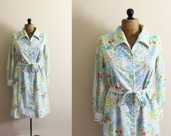 vintage dress 70s rainbow floral print embroidery overcoat 1970s retro womens clothing size medium m