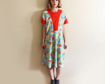 vintage dress 1970s handmade tomato red floral print ric rac retro size s m small medium