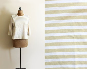 vintage shirt sailor breton tshirt striped taupe beige white clothing size large l