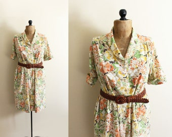 vintage dress 1970s retro floral print neutral colors orange yellow clothing size medium m