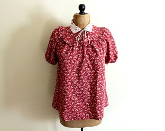 vintage blouse prairie 1970s womens clothing burgundy red floral print ruffle bow size m medium