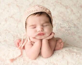 Knit Baby Hat, Newborn Photo Prop, Photo Shoot Prop, Baby Bonnet, Girl Knit Hat, Asymmetrical Bonnet, Pearls, Pale Pink