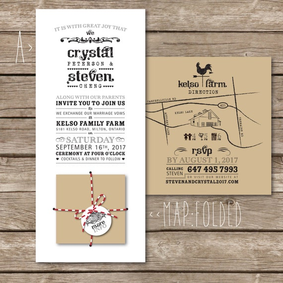 Rustic wedding invitation with folding insert: Happy Fold / recycled kraft paper, baker's twine and folded map, vintage barn & farm
