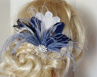 Navy Blue Hair Fascinator, Navy blue, Wedding Hair Clip, Bridal Hair Clip, Feather Hair Clip, Wedding hair comb, Something Blue,  Wedding Co