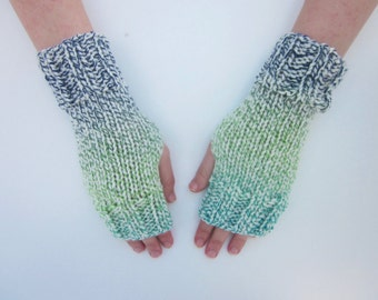 Hand Knit Fingerless Mittens/Texting Gloves-Morning Star-  Wrist Warmers