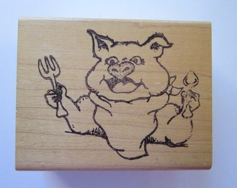 vintage rubber stamp - PIG with fork and spoon - dining pig, pig out