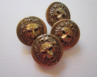 4 vintage metal LION HEAD buttons - 3/4 inch buttons - figural lion buttons, metal buttons, brass buttons, relief lion's head