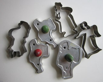 6 vintage cookie cutters - SANTA CLAUS and angel - wood handled cutters, aluminum cutters, old tin cutters