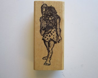 vintage rubber stamp - CAVEMAN - Rubber Baby Buggy Bumpers - used rubber stamp