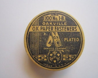 vintage Oakville paper fasteners - each marked OK - original paper box - brass color