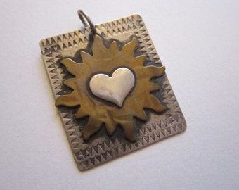 vintage signed COMSTOCK pendant - heart pendant - sterling and brass - Sandy Comstock pendant