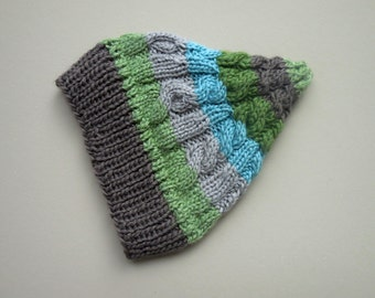 CABLEKNIT PIXIE Newborn Preemie Hat Hand Knit Cable Knit Stretch Ribbed Winter First Gift Ski Cap Garden