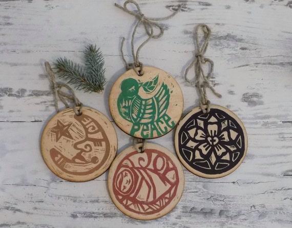 Relief Print Christmas Ornament Set of 4 - Linoleum cut print on wood