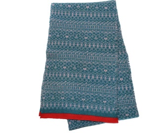 Knitted Fair Isle scarf, long scarf, fringed scarf, blue scarf, warm scarf, Fair Isle Scarf, coral scarf, women's, cozy, teal blue scarf,