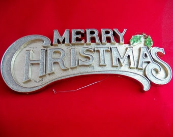 Vintage Glitter Merry Christmas Sign, Retro Holiday Greeting Shop Sign with Holly, Retro Christmas Door Sign, Silver Glitter Sign