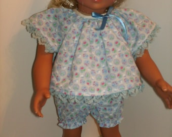 "18"" 16"" American Made Doll Clothes Shorty Retro Blue Girl Doll Pajamas fits 16"" and 18"" dolls"