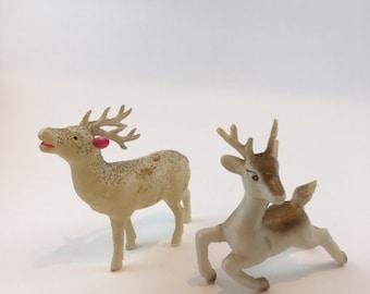 Two Vintage Plastic Reindeer