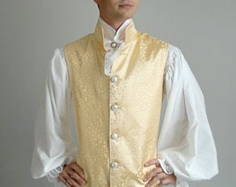 18th Century Vest, Yellow Brocade with Faux Pearl Buttons - Small