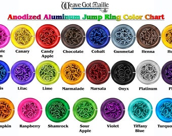 """Jump Rings - 20-Gauge AWG 1/8"""" ID Anodized Aluminum Jump Rings (Imperial Sizes) - 1 Ounce - Pick Your Color!"""