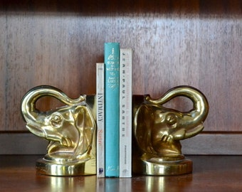 RESERVED vintage brass lacquered cast metal elephant bookends