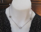 Vintage Rhinestone Five Ball  Necklace with Paperclip Chain