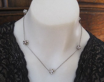 Vintage Rhinestone Five Ball  Necklace with Paperclip Chai